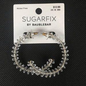 "Sugarfix Acrylic 2"" Half Hoop Clear Earrings"